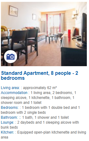 2 Bedroom 8 Person Apartment Description
