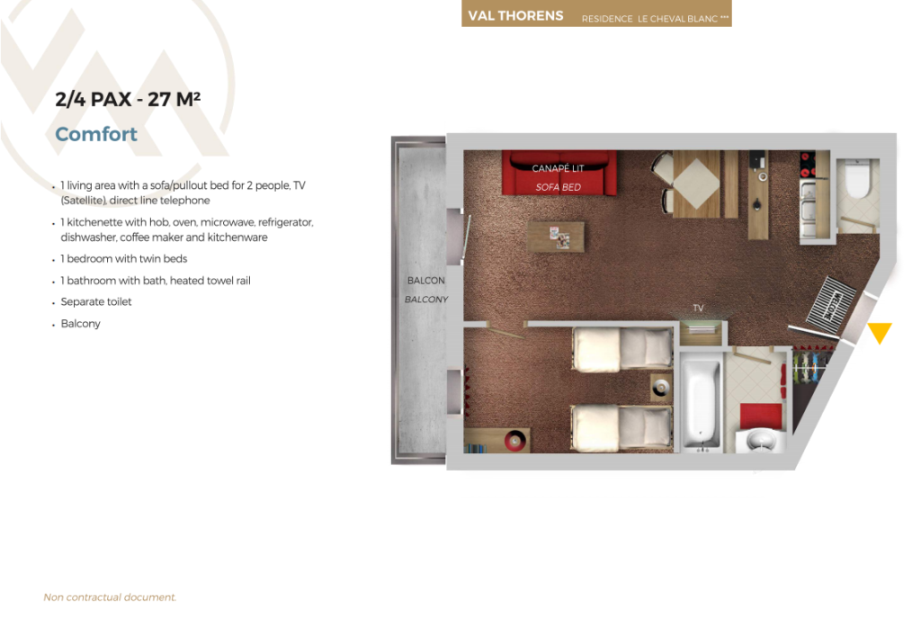 Plan of 4 person apartment comfort Cheval Blanc Val Thorens