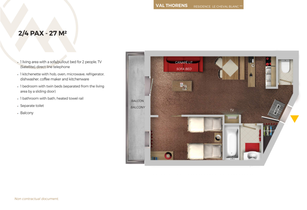 Plan of standard 4 person apartment Cheval Blanc Val Throens