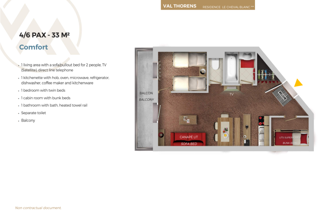 Plan of 6 person comfort apartment Cheval Blanc Val thorens