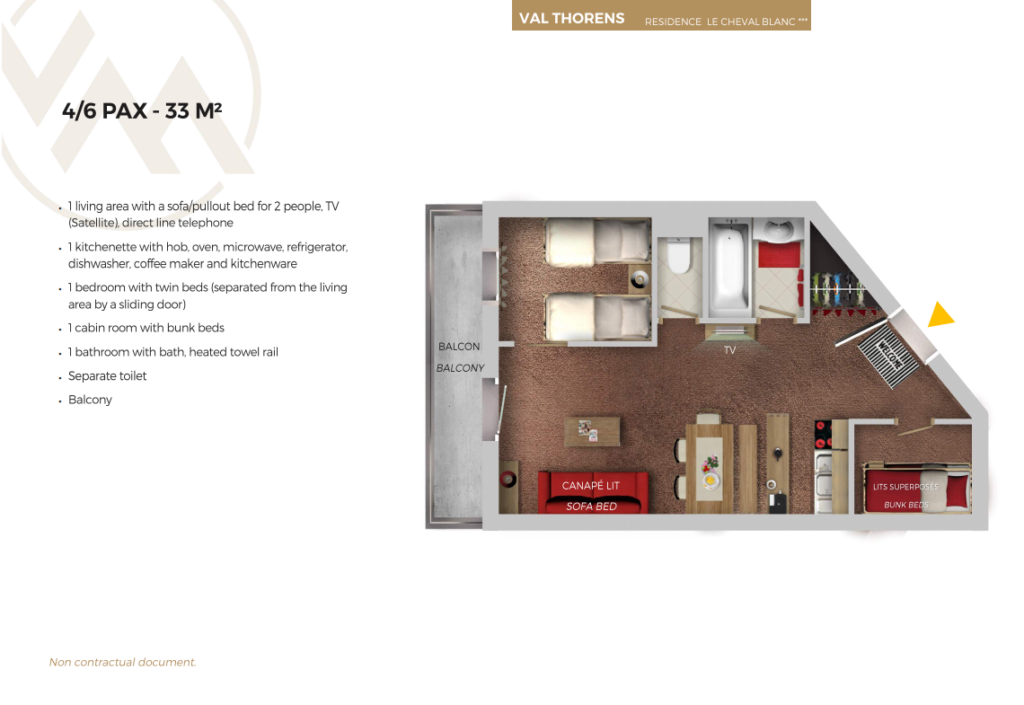 Plan of 6 person standard apartment Cheval Blance Val Thorens