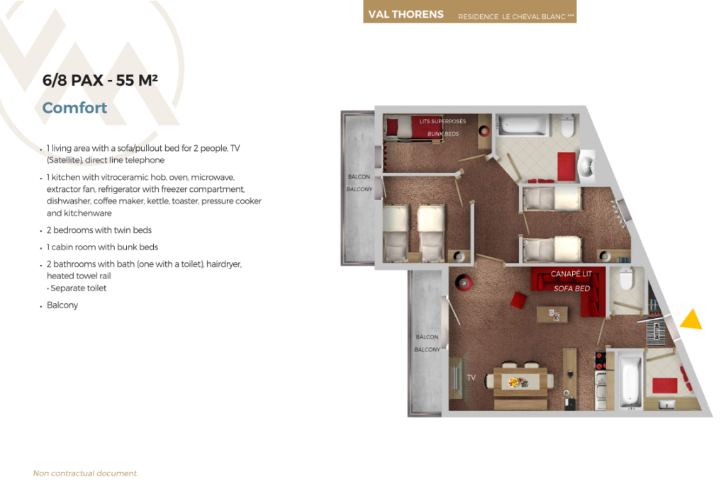 Plan of 8 person apartment comfort Cheval Blanc Val Thorens