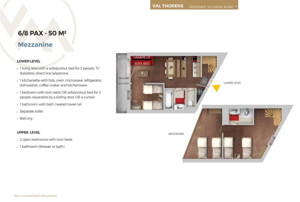 Plan of 8 person mezzanine apartment Cheval Blanc Val Thorens