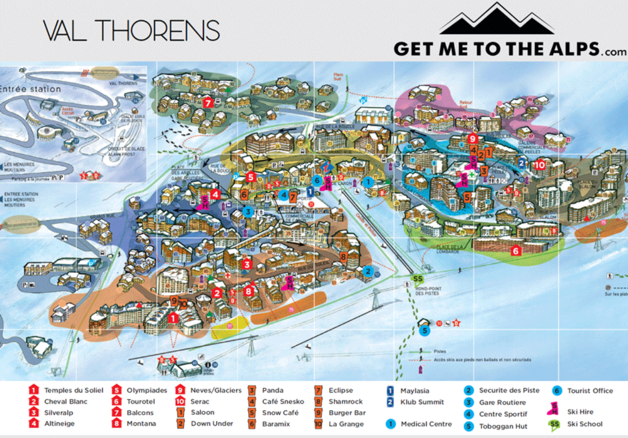 Val Thorens village map