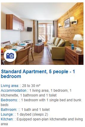 5 Person 1 Bedroom Apartment Description