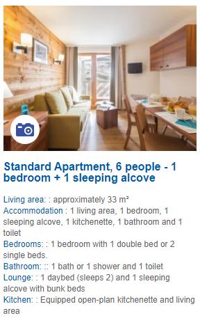 6 Person 1 Bedroom Apartment Description