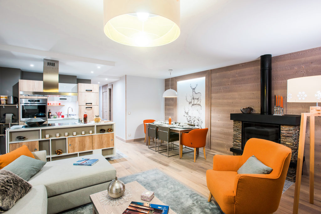 Image of the open plan kitchen and living room at L'Hevana Meribel