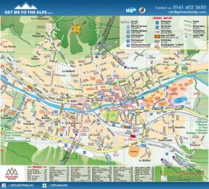 Map of village showing La Ginabelle Chamonix