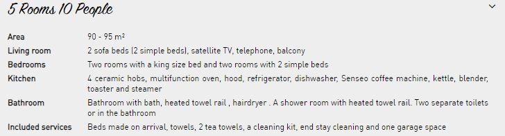 10 person apartment description Le Nevada Tignes
