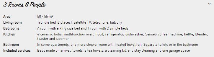 6 person apartment description Le Nevada Tignes