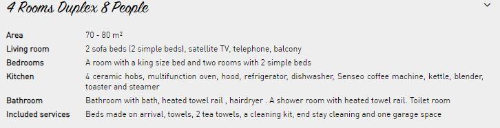 8 person apartment description Le Nevada Tignes