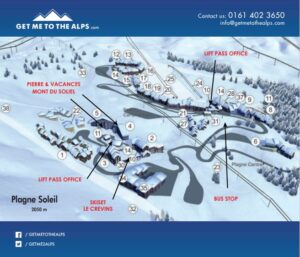 Image of the town map of La Plagne Soleil highlighting the accommodation, lift pass office and ski hire shop