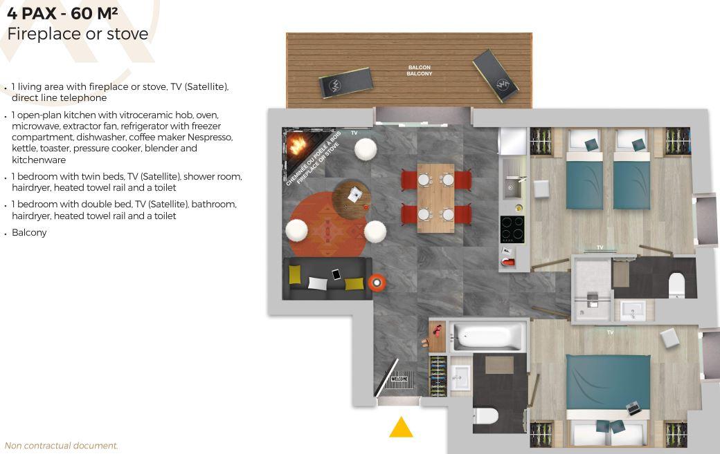 Chalet Izia Val d'Isere 2 bedroom apartment 4 people fireplace description