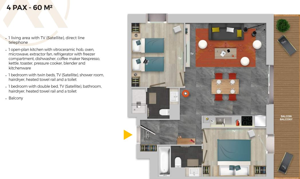 Chalet Izia Val d'Isere 2 bedroom apartment for 4 people description