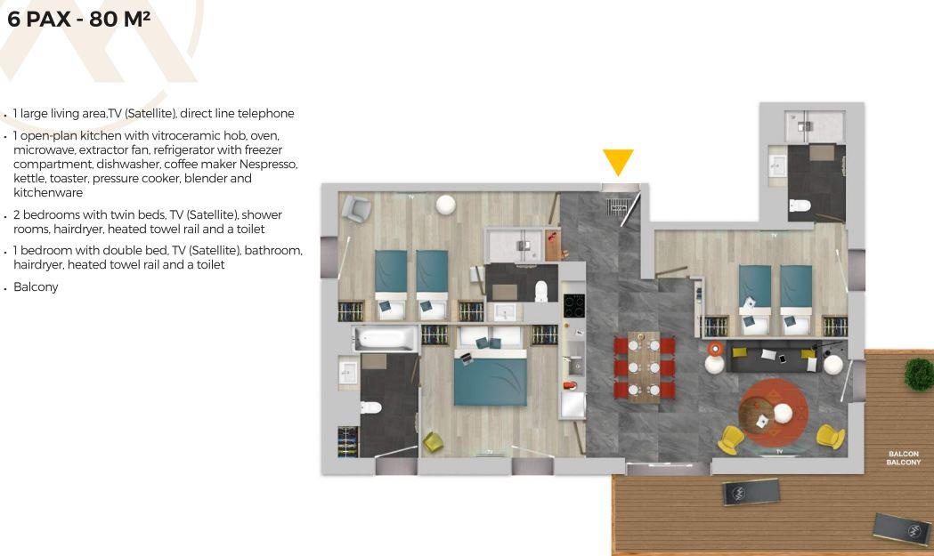 Chalet Izia Val d'Isere 3 bedroom apartment for 6 people description