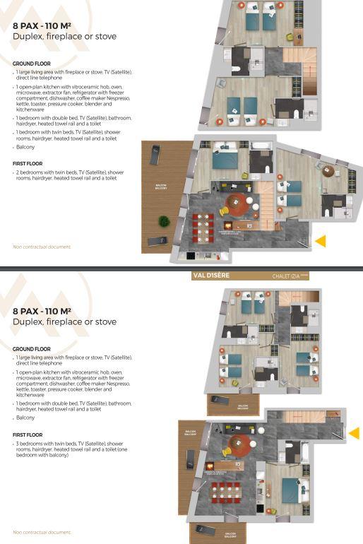 Chalet Izia Val d'Isere 4 bedroom duplex apartment for 4 people description