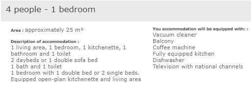 L'Ours Blanc 1 bedroom apartment for 4 people description