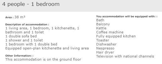 apartment description standard 1 bedroom 4 in L'Ecrin des Neiges Tignes