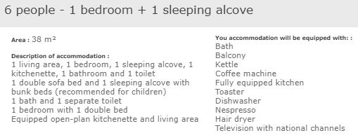 apartment description standard 1 bed 6 alcove in L'Ecrin des Neiges Tignes
