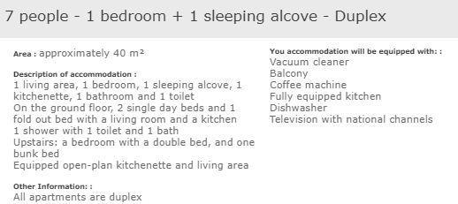 L'Ours Blanc Alpe d'Huez 1 bedroom apartment for 7 with alcove description