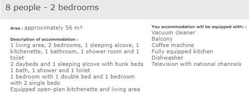 L'Ours Blanc 2 bedroom apartment for 8 people description