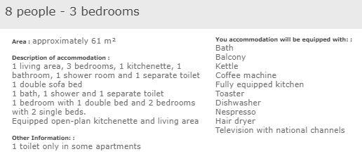 apartment description standard 3 bed 8 in L'Ecrin des Neiges Tignes
