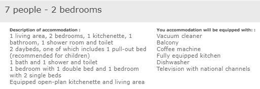 L'Ours Blanc superior 2 bedroom apartment for 7 people description
