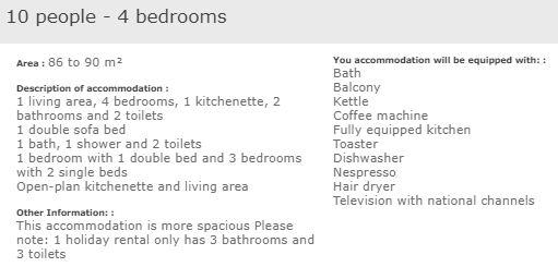 apartment description superior 4 bed 10 in L'Ecrin des Neiges Tignes