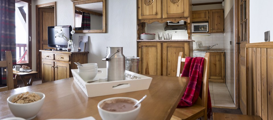 Picture of the dining room from an apartment in Village Montana Val Thorens