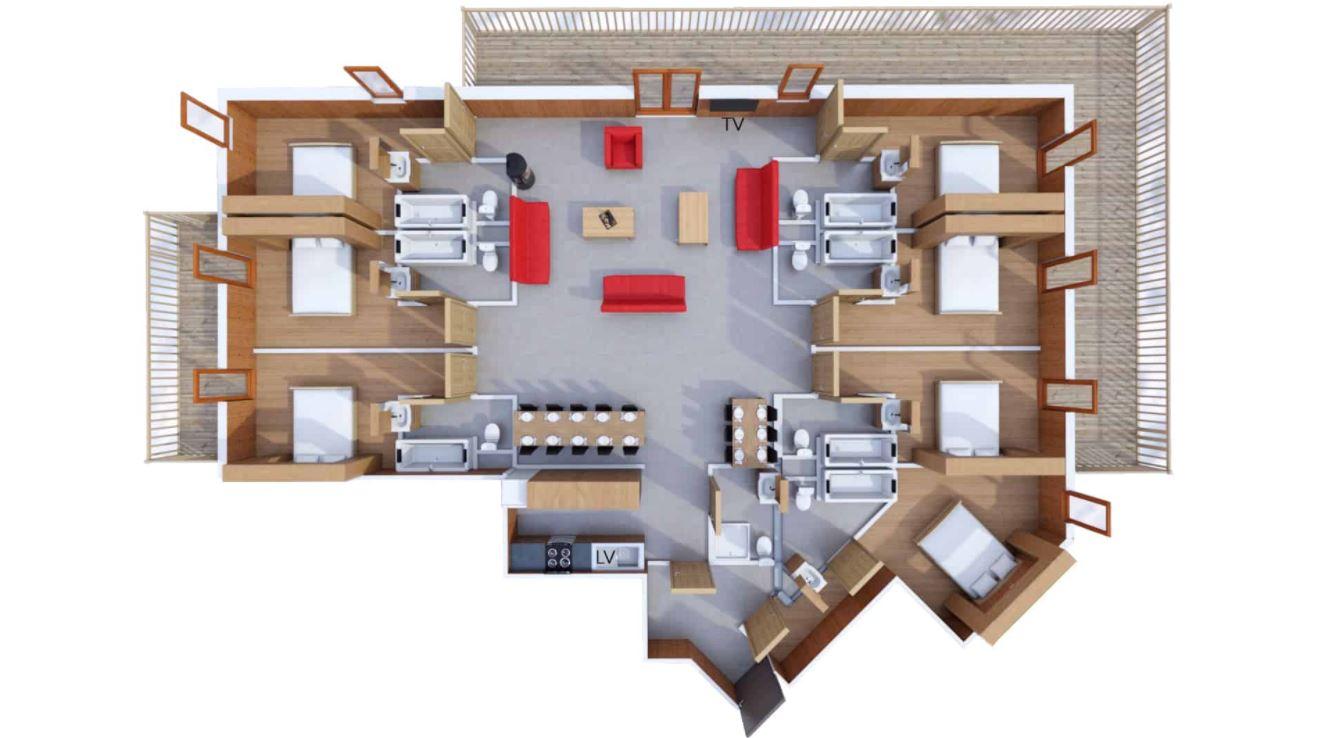 A 16 person apartment floor plan at Les Balcons de Belle Plagne