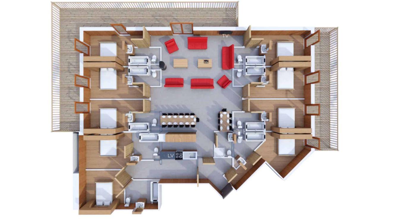 A 20 person apartment floor plan at Les Balcons de Belle Plagne