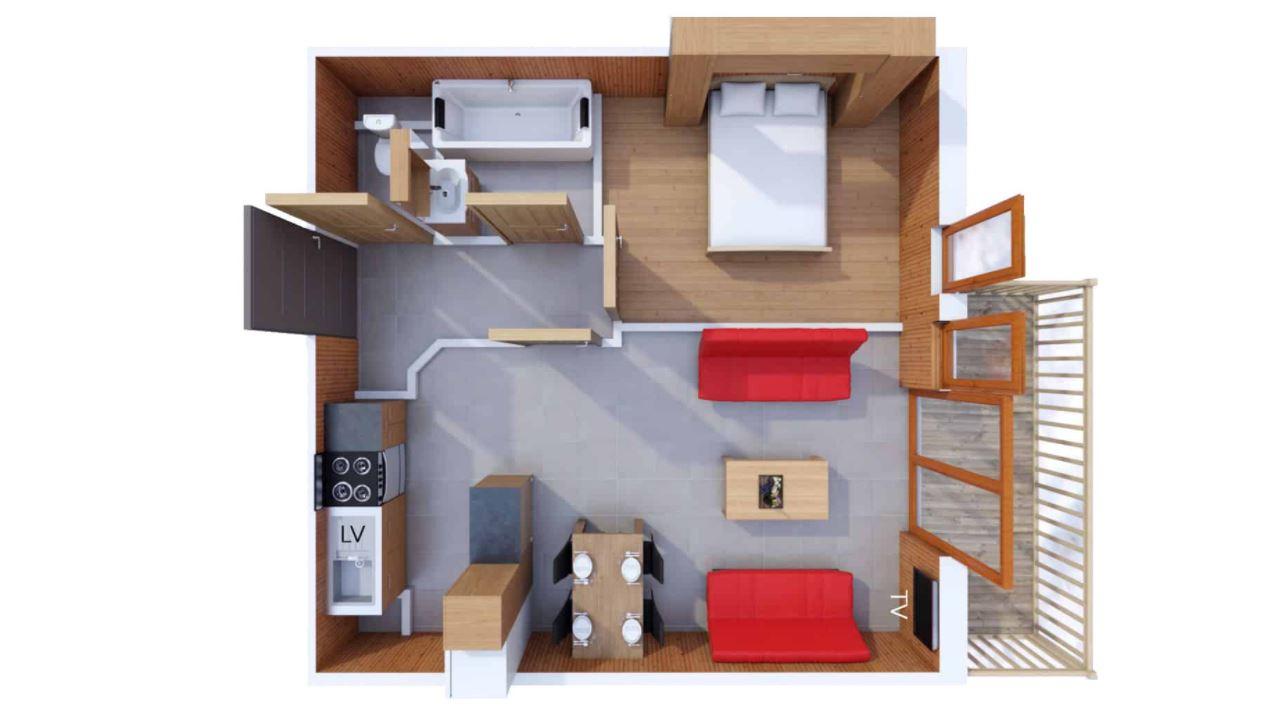 4 person apartment floor plan at Les Balcons de Belle Plagne