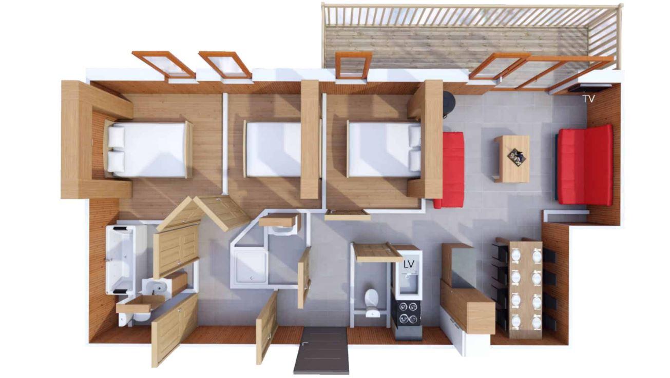 8 person apartment floor plan at Les Balcons de Belle Plagne