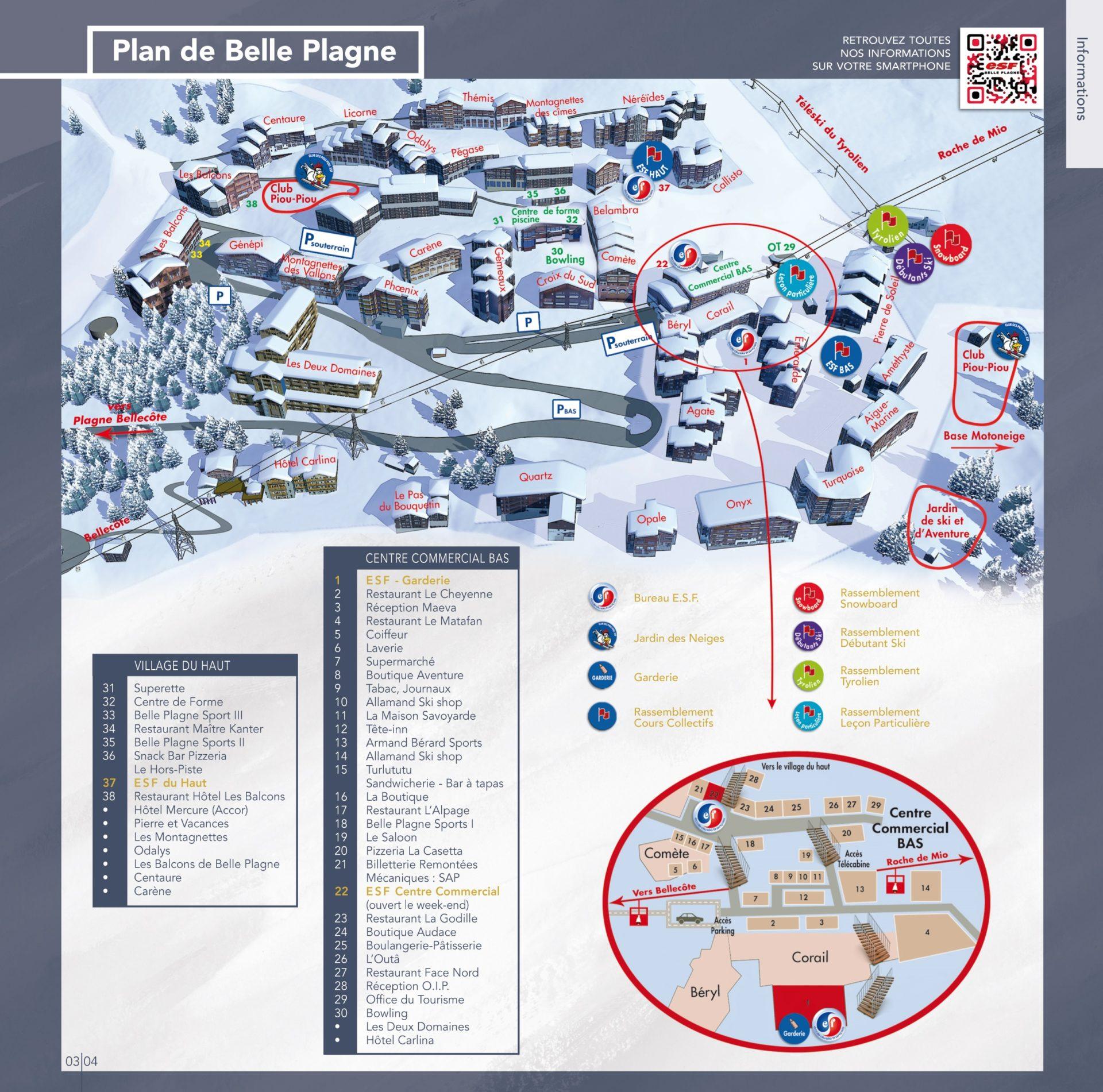 A village plan of Belle PLagne showing Les Balcons de Belle Plagne location