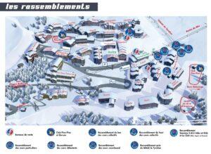 Map showing the ski school meeting points for Les Balcons de Belle Plagne
