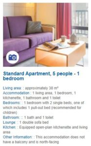 Apartment description for a 1 bedroom apartment in Residence de la Foret Flaine