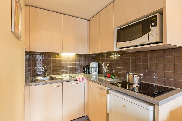 This is a picture of the kitchen area in an apartment at Residence de la Foret Flaine