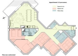 A floor plan for the 10 person apartment at Chalet Altitude
