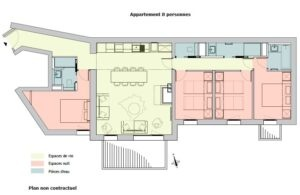 A floorplan of the 8 person apartment