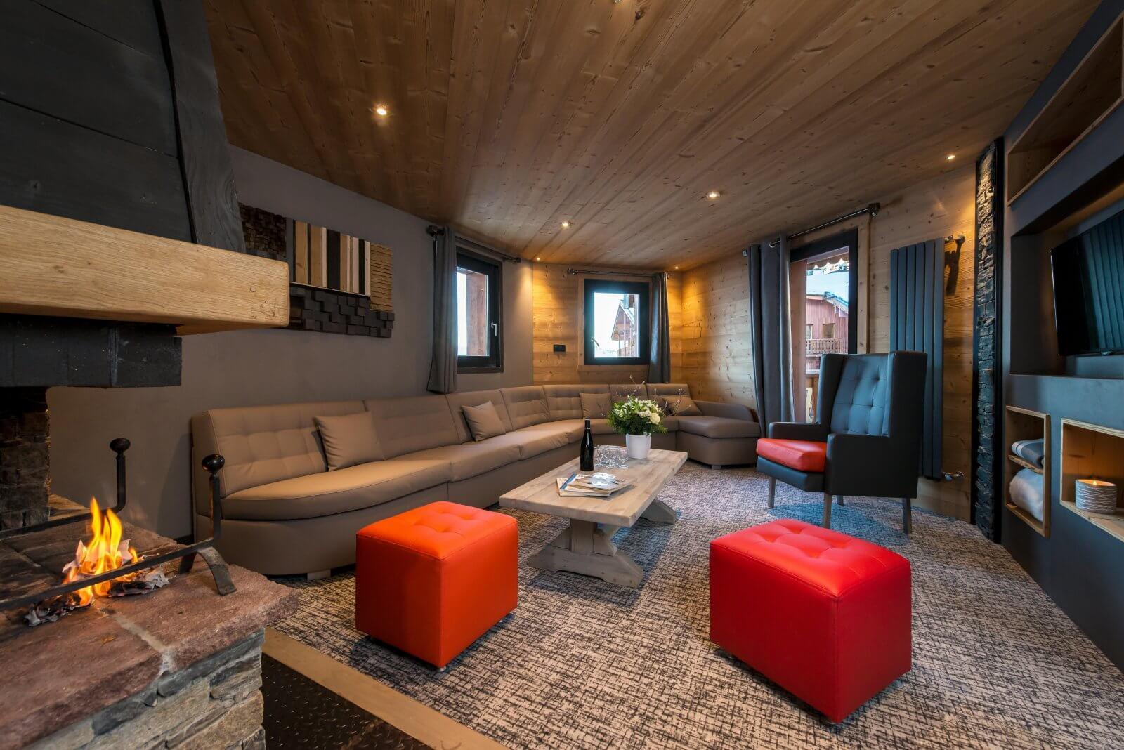 A large living area in one of the apartments