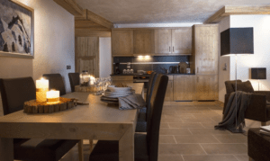 An image of the kitchen dining area in one of the apartments