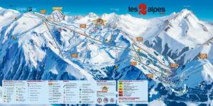 The piste map for Les Deux Alpes
